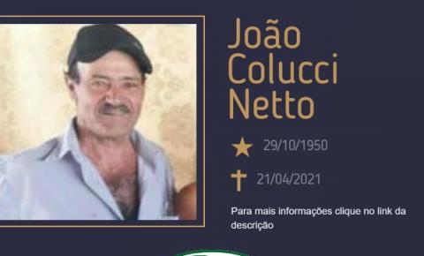 Com pesar, o Grupo Sinsef se despede do Sr. João Colucci Netto
