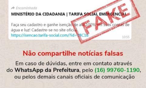 Cuidado: Cadastro para tarifa social é Fake News