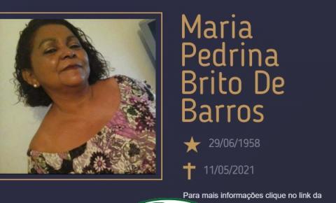 Com pesar , o Grupo Sinsef comunica o falecimento da Sra. Maria Pedrina Brito de Barros